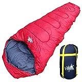丸洗いOK White Seek 寝袋 シュラフ マミー型 耐寒温度 -15℃ コンパクト収納 オールシーズン (レッド)