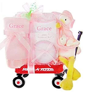 Look What The Stork Delivered- Girls Personalized Wagon Baby Gift Basket