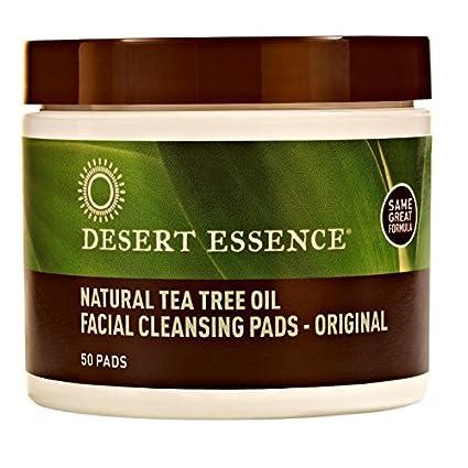 Desert Essence Natural Tea Tree Oil Facial Cleansing Pads Original, 50 Count