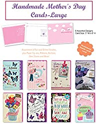 Happy Mother Day Large Handmade Beautifully Embellished Amazing Mothers Day Cards Assortment of 8 Designed Cards Boxed from Mothers Day