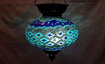 XXL blue moroccan lantern mosaic hanging lamp glass chandelier light turkish candle holder m 41