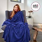 Pink-Papaya-SnugMe-Supersoft-flauschig-weiche-XXL-Cashmere-Touch-Kuschel-Decke-200-x-150-cm-280gm-Flannel-Fleece-Farbe-Dunkel-Blau