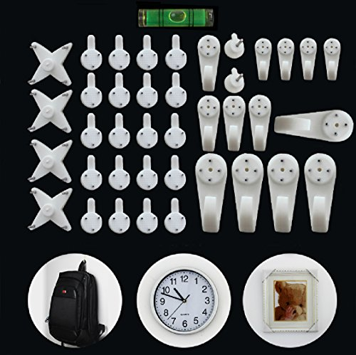 ElecMotive (40 - Pack) Creative Multi Function Invisible Hardwall Drywall Picture-Hanging Hooks Clock Hanger Non-Trace Wall Picture Hook Frame Wedding Photos Mirror Wall Studs, White (40-Hook)