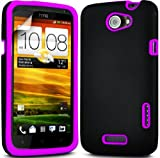 BLACK ARMOUR HARD BACK CASE WITH PURPLE SILICONE INSERT FOR HTC ONE X