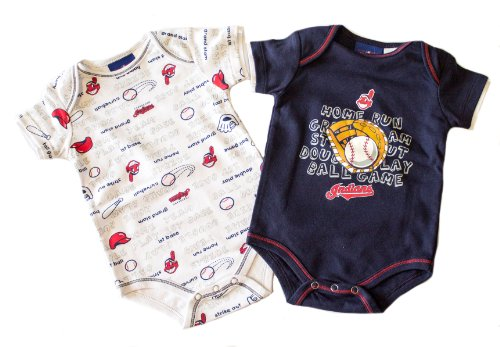 Cleveland Indians Licensed Navy And White 2 Piece Onesie Creeper Romper Set (6/9 Months) front-915778