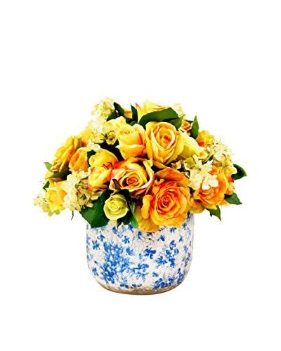Creative Displays Yellow Roses & Cream Hydrangea in a Ceramic Container