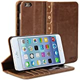 iPhone 6 Plus Case, GMYLE® [Book Case] iPhone 6 (5.5 inch) case Wallet Book Case Vintage for iPhone 6 (5.5 inch) - Brown Classic [Crazy Horse Pattern] [PU Leather] Book style Wallet Case Cover
