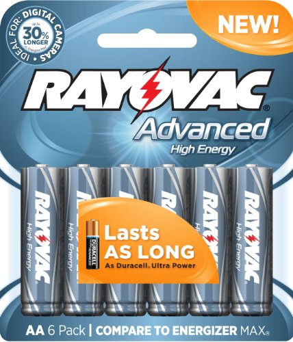 Rayovac 6 Pack High Energy Aa Batteries, 815-6Hef