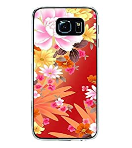 Fuson Premium Flowers Metal Printed with Hard Plastic Back Case Cover for Samsung Galaxy S6 Edge Plus