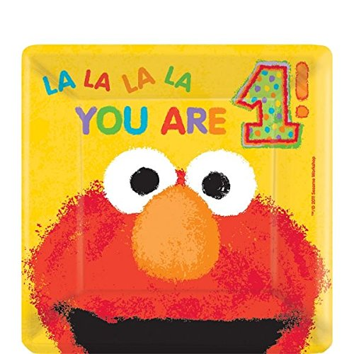 "Amscan Elmo'S 1st Birthday Square Plates, 7"", Yellow"