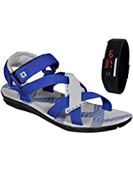 Jollify Men's Gray Synthetic Leather Sandal With Watch Free