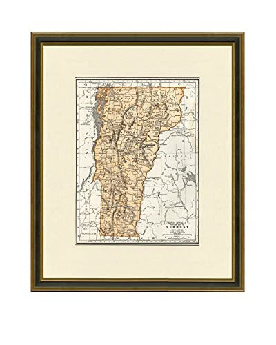 Vintage Print Gallery Antique Map Of Vermont 1937, Multi, 20.5 x 17.5