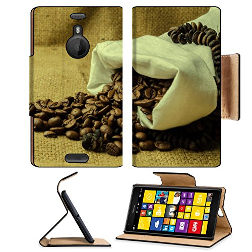 Coffee Beans In Burlap Sack 3Dcom Nokia Lumia Flip Cover Case With Card Holder Customized Made To Order Support Ready Premium Deluxe Pu Leather