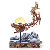 Enesco Jim Shore Heartwood Creek Santa's Sleigh Masterpiece Musical, 12-Inch