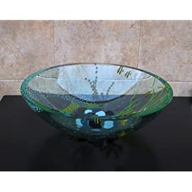 Bathroom Double Layer Glass Vessel Vanity Sink Bowl A3
