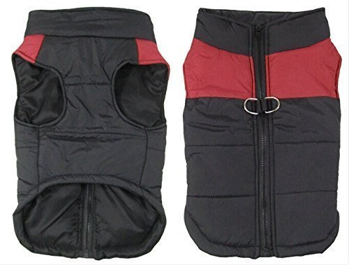 SUPEREX? Pet Dog Coat Jacket For Small & Medium Dogs, Warm Padded Puffer, Chest Protector Winter Warm Harness Vest Jacket Easy On/Off (Red,XXL)