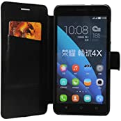 Honor 4X Case, HOKO® Slim Pu Flip Cover Wallet Book Style Flip Case Cover For Huawei Honor 4X (Black)