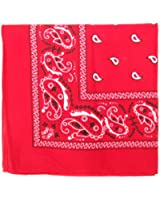 """Bandanas By The Dozen 100% Cotton, Head Wrap 22"""" x 22"""" (Red, 22"""" X 22"""")"""