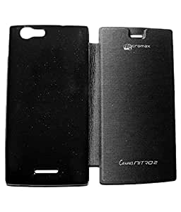 Royal Rusi - Black Flip cover , Aux cable, USB Charger For Micromax Canvas Nitro 2 E311