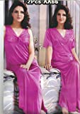 Odishabazaar Hot Sleep Wear 2pc Nighty Over Coat Pink Women Babydoll Bed Night Set