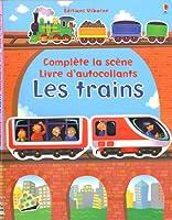 Les trains - Complète la scène - Livre d'autocollants