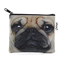 Catseye Pug Cosmetic Purse, Brown, Small
