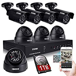 ZOSI CCTV System H.264 8CH 960H DVR Recorder 4x 800TVL Waterproof IR Camera + 4x Indoor dome Camera CCTV System Security Camera System DVR Kit with 1TB hard disk