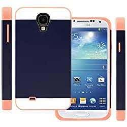 CellJoy Hybrid TPU 2PC Layered Hard Case Rubber Bumper for Samsung Galaxy S4 SIV (At&t / Verizon / US Cellular / Sprint / T-Mobile / Unlocked) [CellJoy Retail Packaging] (Coral Pink / Navy Blue)