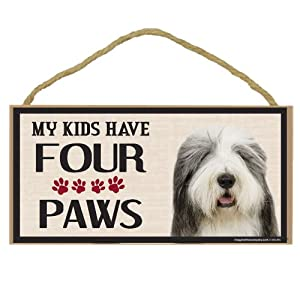 Imagine This Wood Breed Four Paws Sign, Old English Sheepdog