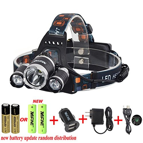 Mifine Waterproof LED Headlamp Headlight,super Bright 4 Modes 3000lm Xm-l