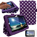 """TECHGEAR Tesco Hudl 7"""" Premium Leather Folio Case Cover with Stand + Complimentary Screen Protector & Screen Cleaning Cloth [PURPLE + POLKA DOT]"""