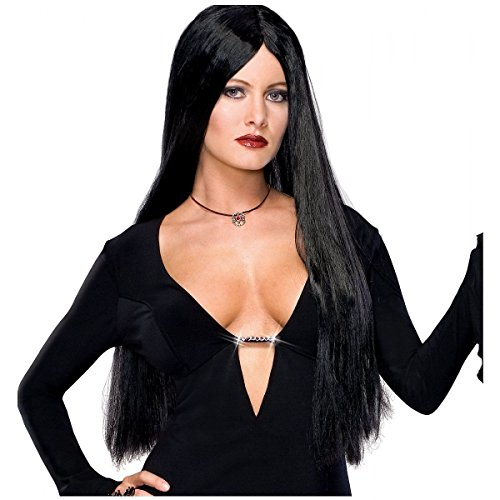 GSG Dlx Morticia Addams Family Costume Wig Long Straight Black Vampire Witch