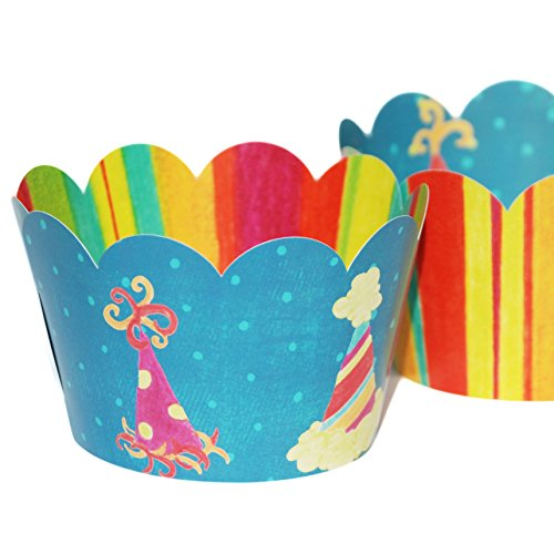 Happy Birthday Cupcake Wrappers, Rainbow Stripe, Party Hats, Confetti Couture Party Supplies, 36 Reversible Wraps