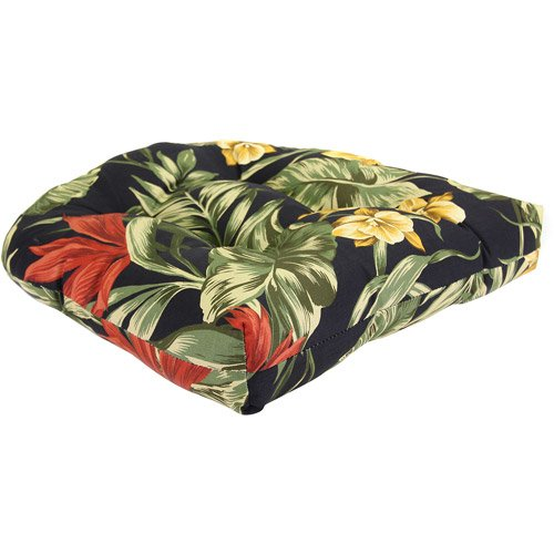 Jordan Manufacturing Floral Outdoor Tufted Wicker Seat Cushion Color: Sunset Ebony photo