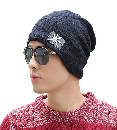 5b352e10cbd iSweven 1033c Blue imported Fancy beautifully wooven expandable very soft  beanie cap hat for Men Women GIrls