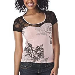 Product Image License Juniors Lacey Bodice Tee - Romantic Rose