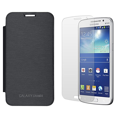 DMG Smooth PU Leather Back Replace Flip Cover Case For Samsung Galaxy Grand Max SM-G7200 (Pebble Blue) + Matte Screen
