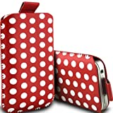 Nokia X3-02 Touch and Type Pull Tab Polka Dot Case PU Leather Pocket Pouch Cover in RED (S)