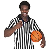 Crown Sporting Goods Mens Official Striped Referee/Umpire Jersey, Large, Black/White