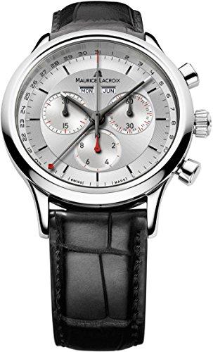 Maurice Lacroix Les Classiques de hombre cronógrafo Plata Dial Swiss Calendario Reloj LC1228-SS001-131-1