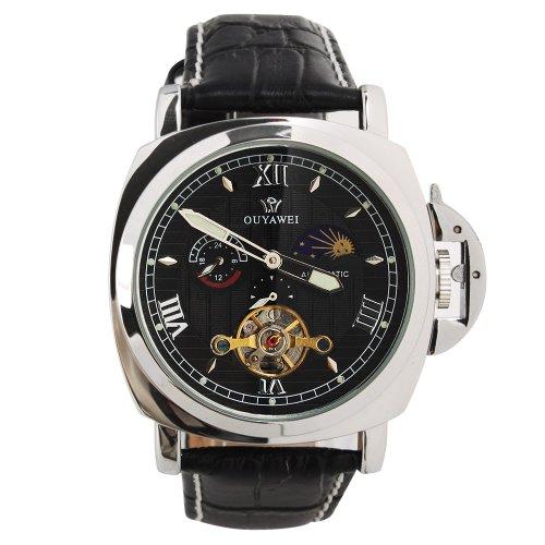 Yesurprise Fashion Men Leather Skeleton Automatic Mechanical Wrist Watch Black