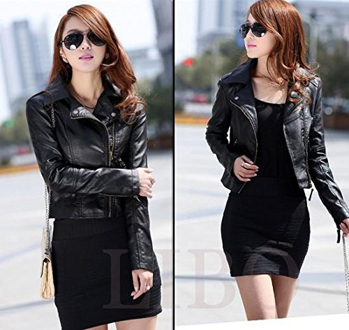 Gaorui Women's Vintage Slim Biker Motorcycle PU Soft Leather Zipper Jacket Coat 3