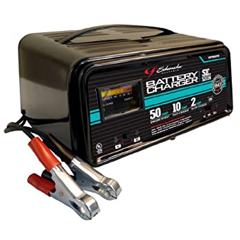 This automatic handheld battery charger is completely automatic and offers 50-, 10-, and 2-amp charging modes. The LED indicators make it easy to check charging status at a glance. Its 50-amp mode helps engines with emergency starting, while the 10-a...