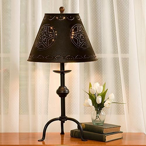 red star punched tin 12 lamp shade home garden lighting. Black Bedroom Furniture Sets. Home Design Ideas