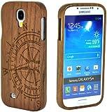 SunSmart Handmade Unikat Holz H�lle Bambus Schutzh�lle f�r SamSung galaxy S4 IV i9500 mit freiem Schirmschutz(Nussbaum Kompass)