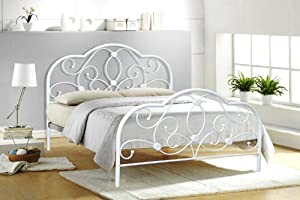 4ft6 Double White Metal Bed Frame Alexis from BEDZONLINE