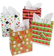 12 Assorted Christmas Gift Bags - Medium Size Assorted Bright Prints
