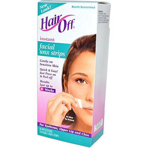 HairOff, Instant Facial Wax Strips, 18 Double-Sided Strips - 2pc