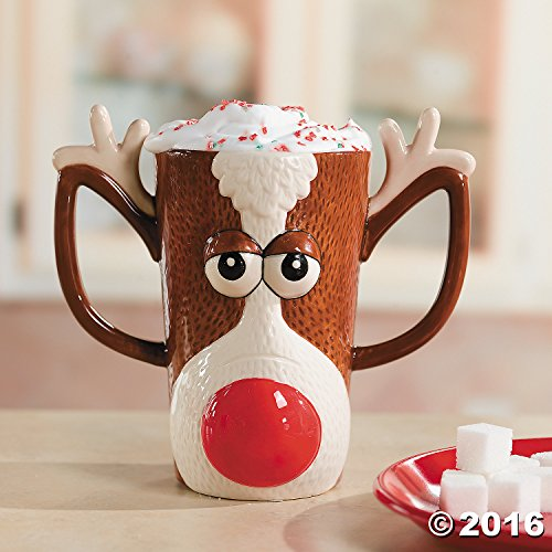 Reindeer Face Holiday Mug w/ Red Nose and Antlers