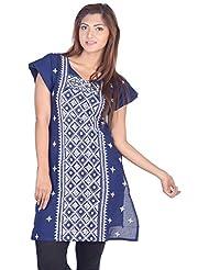 Aabarani Women's Cotton Hand Work Semi Stitched Kurta (ABKU013,Navy Blue)